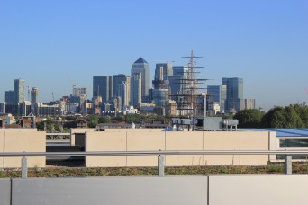 The unmistakable view of Canary Wharf from our rooftops